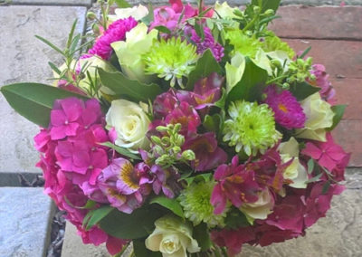 Funeral-Flowers-Bouquet made of Pink Hydrangea, Green Chrysanthemum and White Roses
