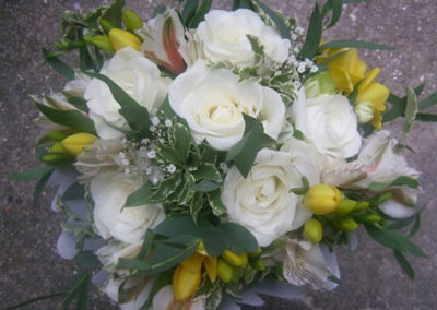 Bella Poppy Flower Design-Chichester-Flowers-Florist-Weddings-Funerals-Bouquets- Yellow white rose Bouquet 500x500