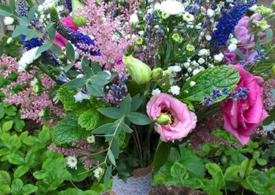 Bella Poppy Flower Design, Chichester - Flowers, Florist,Weddings, Funerals, Dried Flowers, Bouquets - A mixed bouquet of purple, pink and white flowers with green leaves