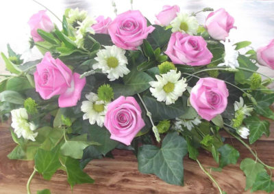 Bella Poppy Flower Design-Chichester-Flowers-Florist-Weddings-Funerals- Funeral flowers, pink roses and white flowers with ivy