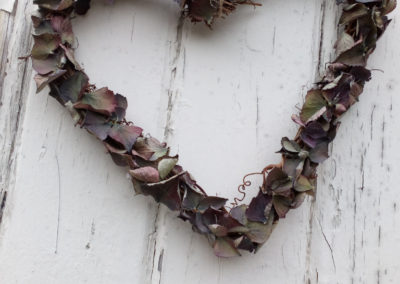 Dried Hydrangeas in a heart shaped wall decoration - Dried Flowers