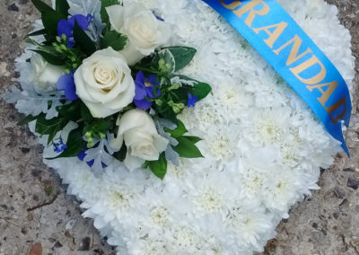 White heart shaped funeral wreath - funeral flowers
