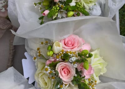 Bouquet of pink and cream roses - wedding flowers