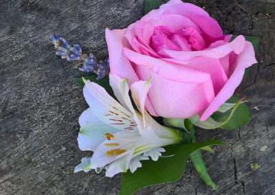 Pink rose and alstoemeria Buttonhole - Wedding Flowers
