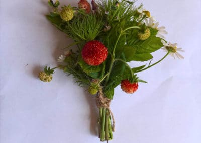 Button hole of summer flowers and strawberries - Wedding Flowers