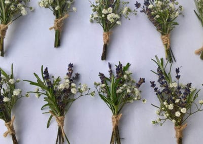 Lavender and gypsophilia corsages - Wedding Flowers