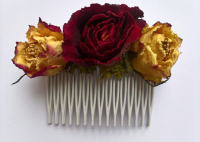 hair comb of red and cream roses - dried flowers