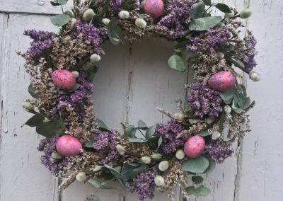 Wreath of easter dried flowers