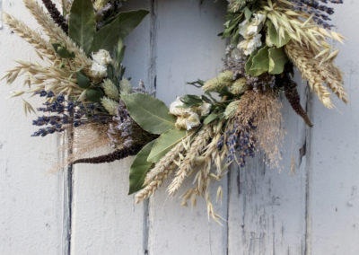 Wreath of lavender and wheat dried flowers