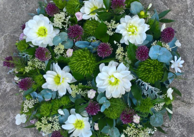 Large posy of pad, dahlia, diantus and allium flowers - funeral flowers
