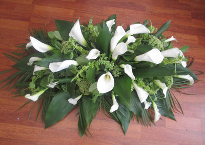 White Casket spray - funeral flowers