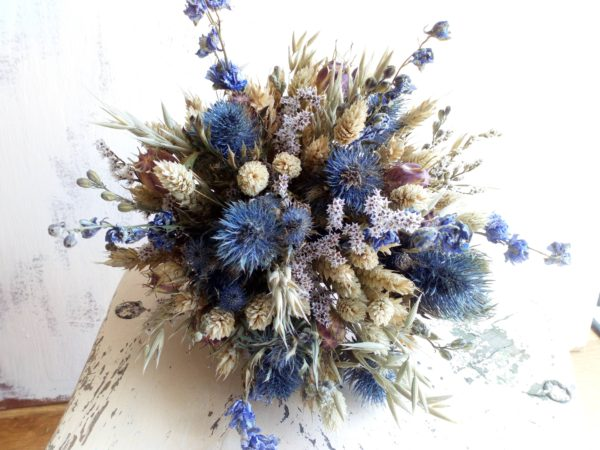 Wheat and blue dried flower bouquet