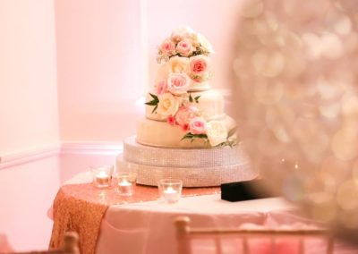 blush and ivory cake flowers