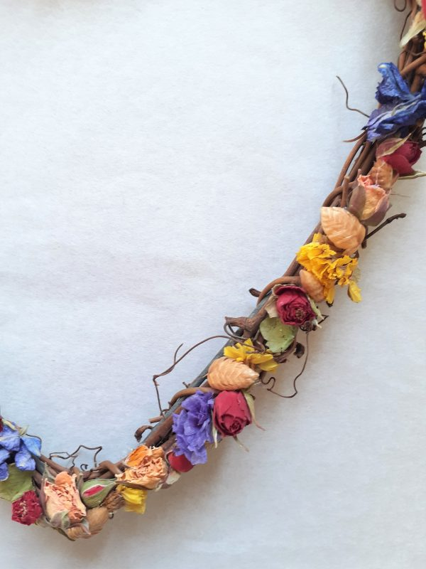 dried floral wall hanging