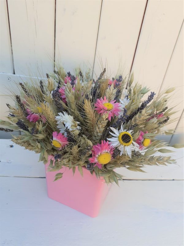 dried flower pink cube