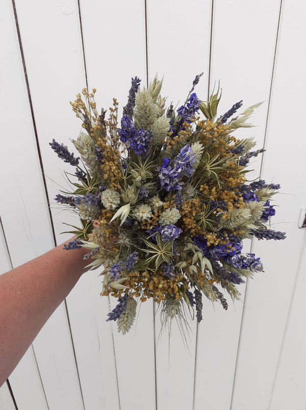 blue yellow dried flowers