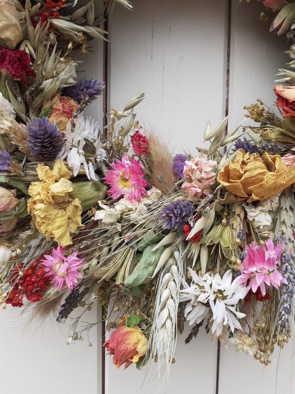 dried flower wreath close up